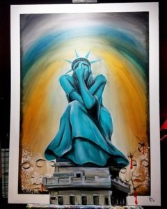 Lady Liberty Crying by George Utrilla Angelo